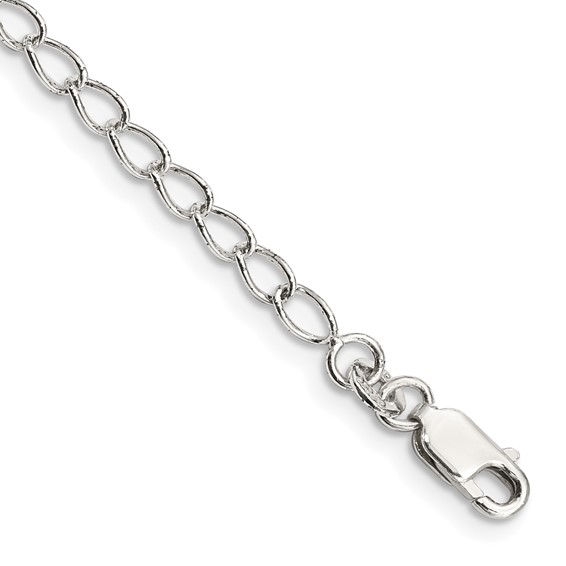 Sterling Silver 16in Half Round Wire Curb Chain 3mm