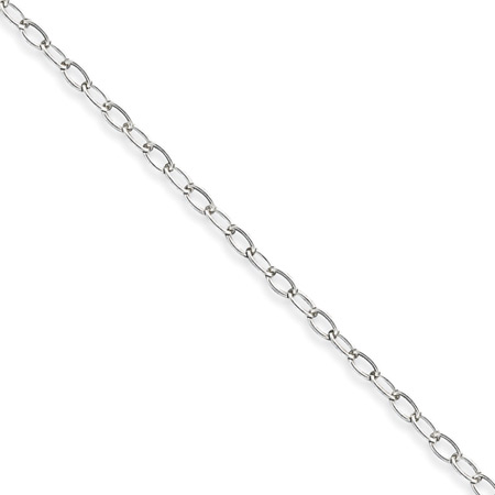 Sterling Silver 18in Half Round Wire Curb Chain 3mm