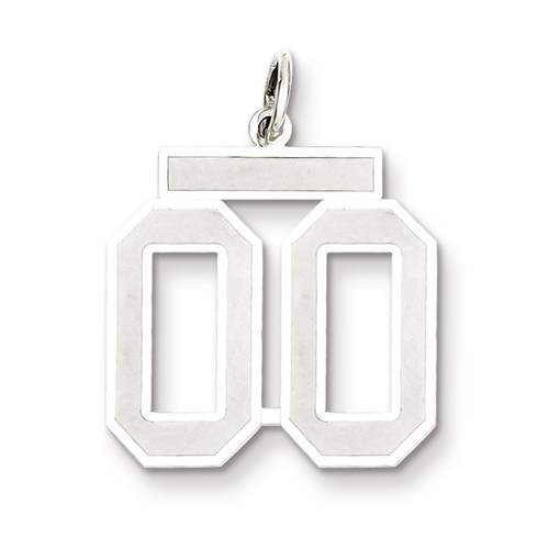 Sterling Silver Medium Satin Number 00 Charm