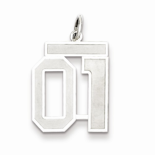 Sterling Silver Medium Satin Number 1 Charm with Top