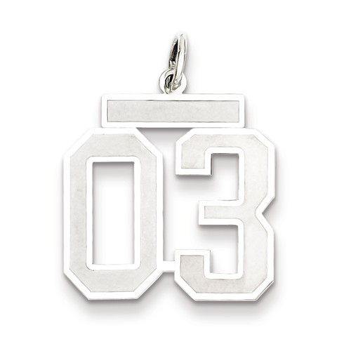 Sterling Silver Medium Satin Number 3 Charm with Top