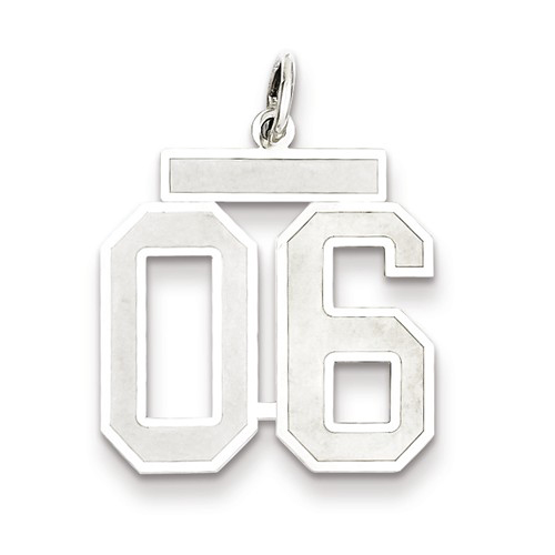Sterling Silver Medium Satin Number 6 Charm with Top