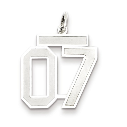Sterling Silver Medium Satin Number 7 Charm with Top
