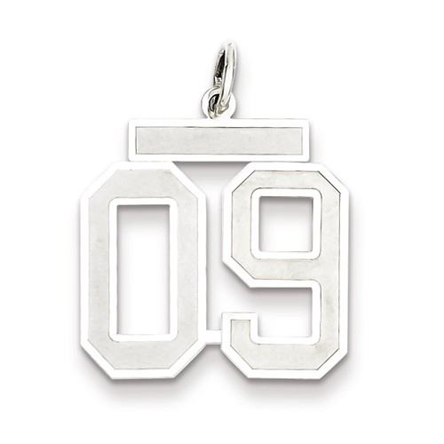 Sterling Silver Medium Satin Number 9 Charm with Top