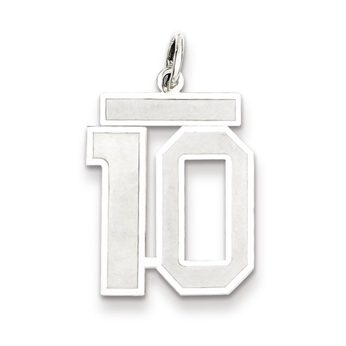 Sterling Silver Medium Satin Number 10 Charm
