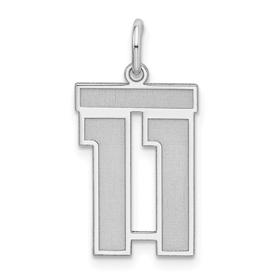 Sterling Silver Medium Satin Number 11 Charm