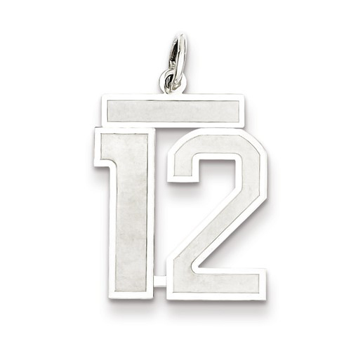 Sterling Silver Medium Satin Number 12 Charm