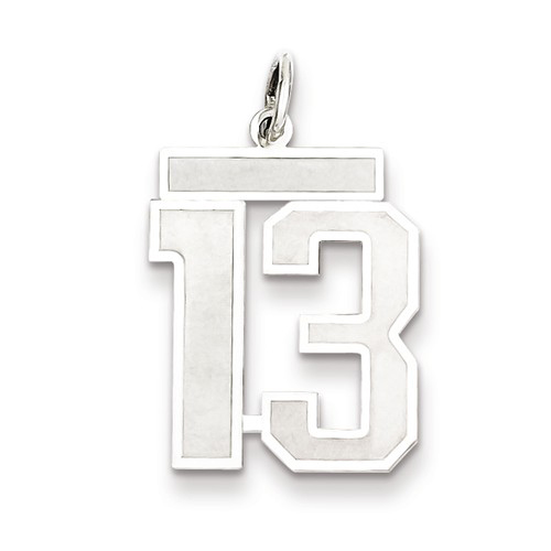 Sterling Silver Medium Satin Number 13 Charm