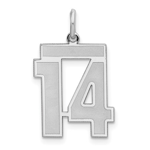 Sterling Silver Medium Satin Number 14 Charm