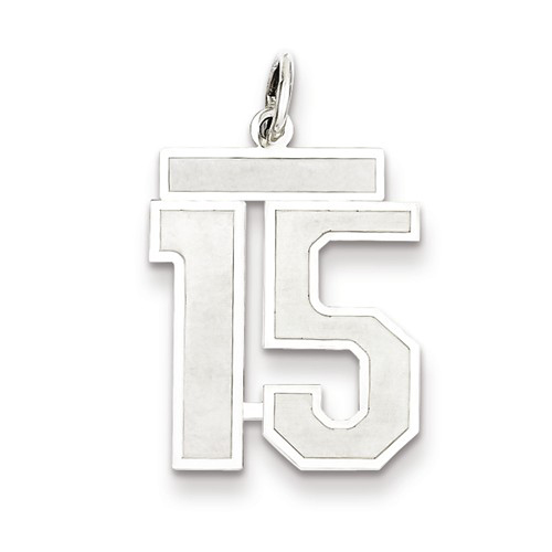 Sterling Silver Medium Satin Number 15 Charm