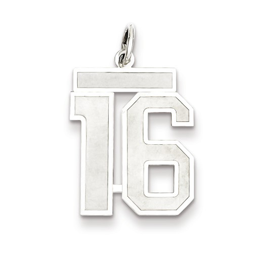 Sterling Silver Medium Satin Number 16 Charm