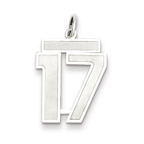 Sterling Silver Medium Satin Number 17 Charm