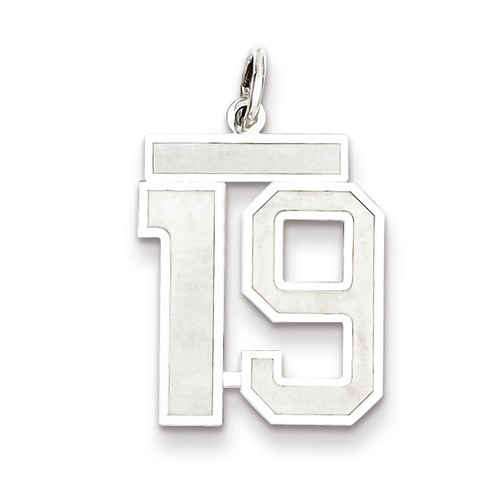 Sterling Silver Medium Satin Number 19 Charm