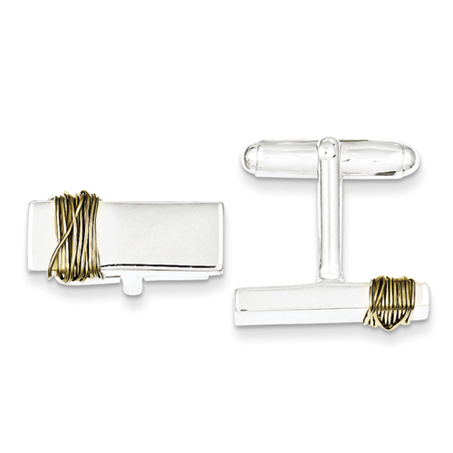 Sterling Silver Cufflinks with Vermeil Wire Accents
