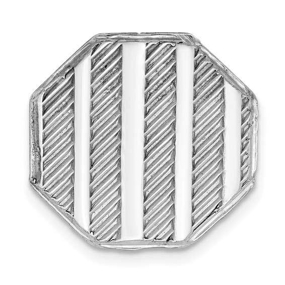 Octagonal Textured Tie Tac Sterling Silver