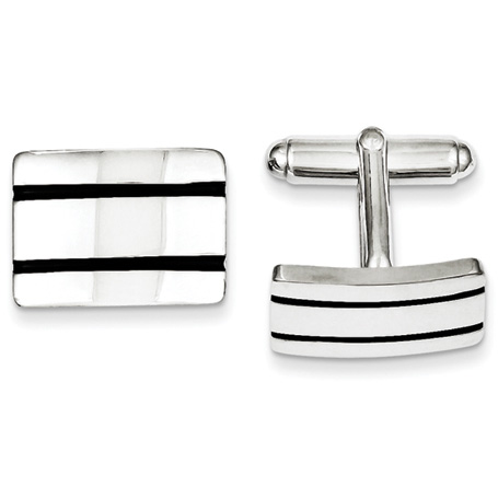Sterling Silver Black Enameled Cufflinks