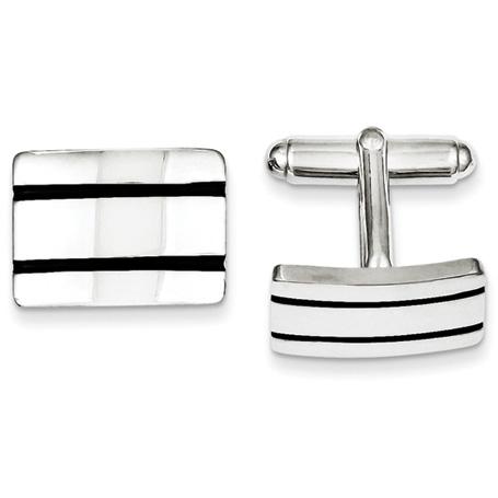 Sterling Silver Black Enameled Bar Cufflinks