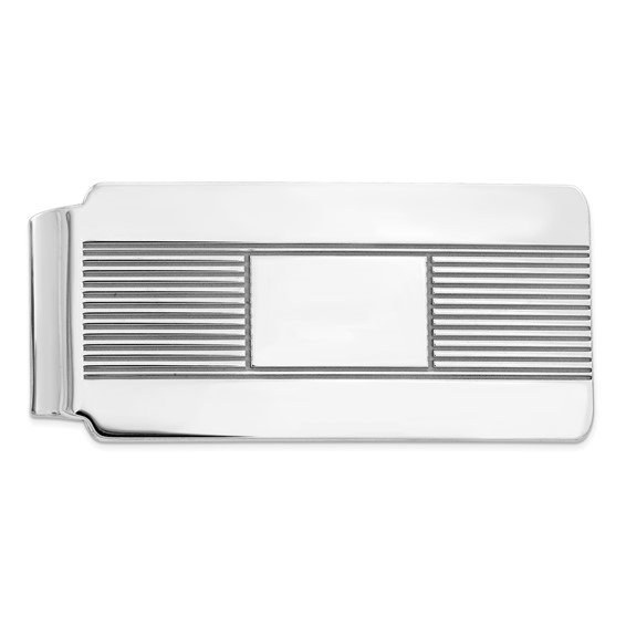 Sterling Silver Money Clip with Stripes and Smooth Center
