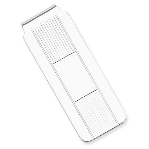 Sterling Silver Slender Striped Money Clip