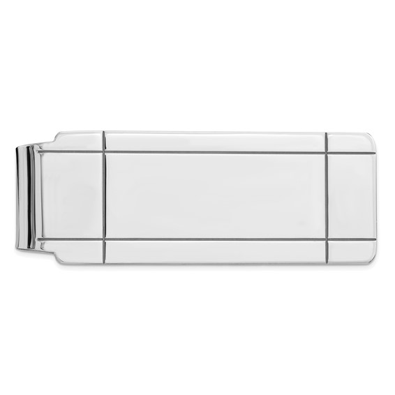 Sterling Silver Slender Money Clip with Four Grooves