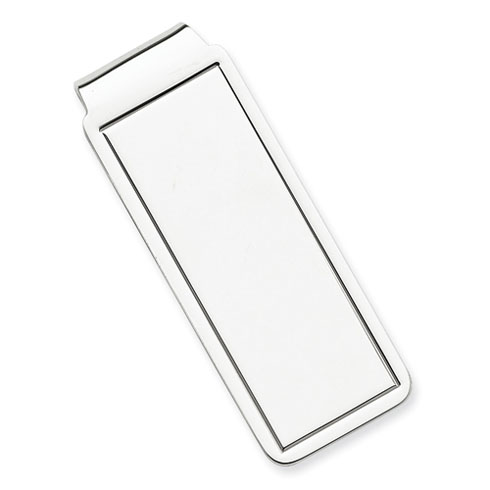 Sterling Silver Money Clip with Rectangular Groove