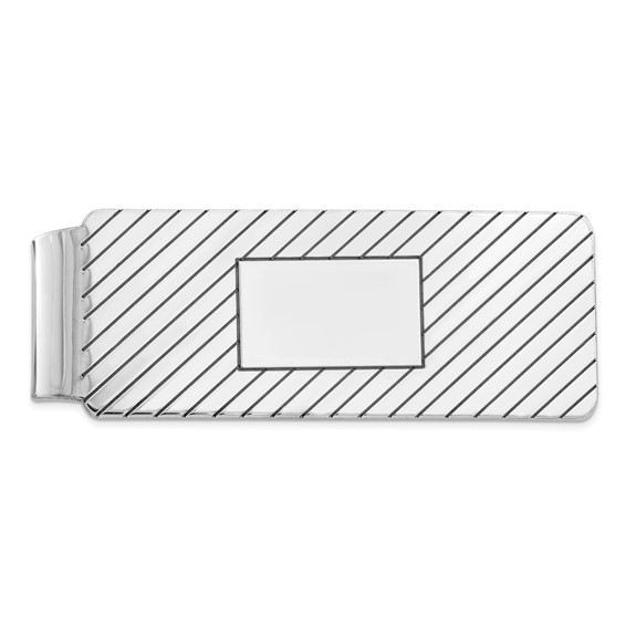 Sterling Silver Money Clip with Diagonal Lines