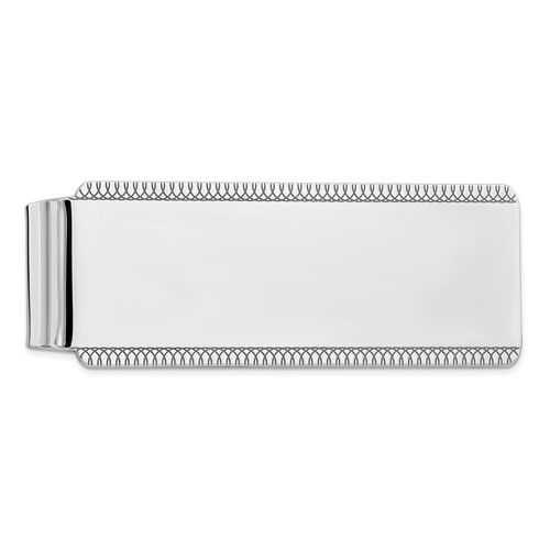 Sterling Silver Slender Money Clip with Fancy Borders