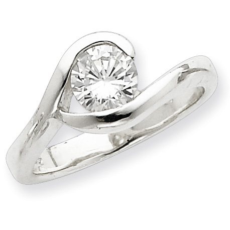 CZ Solitaire Ring Size 7 - Sterling Silver