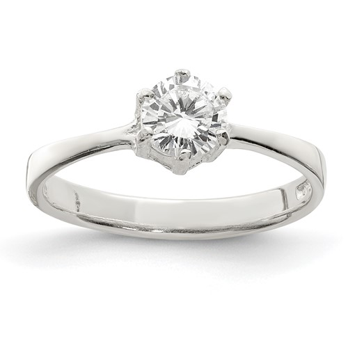 1/2 CT CZ Solitaire Ring Size 6 - Sterling Silver