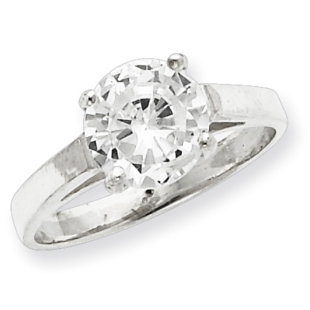 CZ Solitaire Ring Size 8 - Sterling Silver