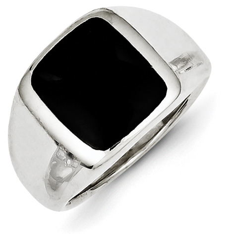 Sterling Silver Synthetic Onyx Ring Size 7