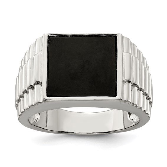 Sterling Silver Square Onyx Ring with Textured Finish