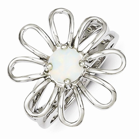 Sterling Silver Created Opal Flower Ring
