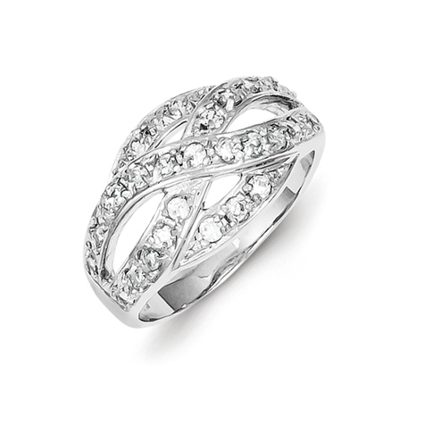 Sterling Silver Bypass Ring with Cubic Zirconias