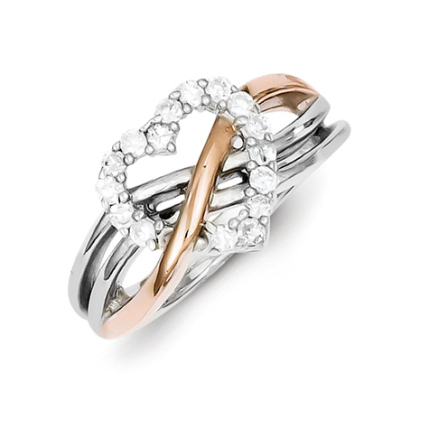 Rose Gold Plated Sterling Silver Heart Ring with CZ