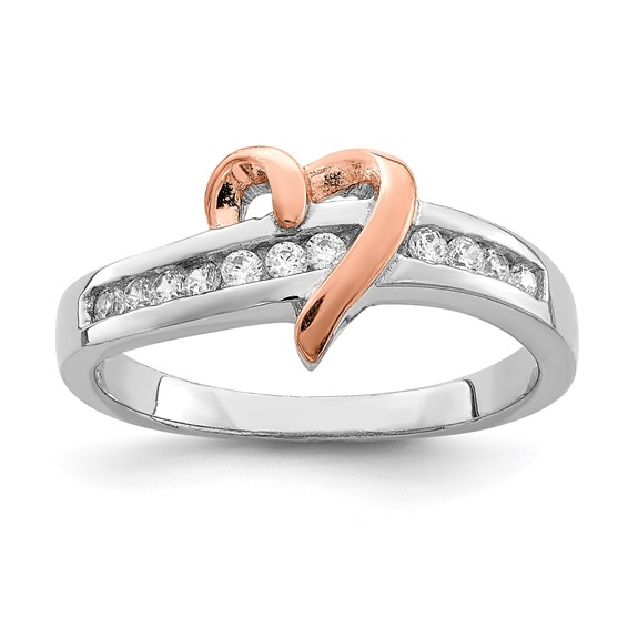 Sterling Silver and Vermeil Heart Ring with Cubic Zirconias