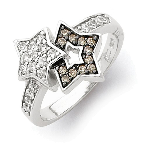 Sterling Silver Clear and Champagne CZ Bound Stars Ring