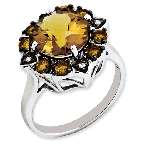 3.5 ct Sterling Silver Citrine Whiskey Quartz and Diamond Ring