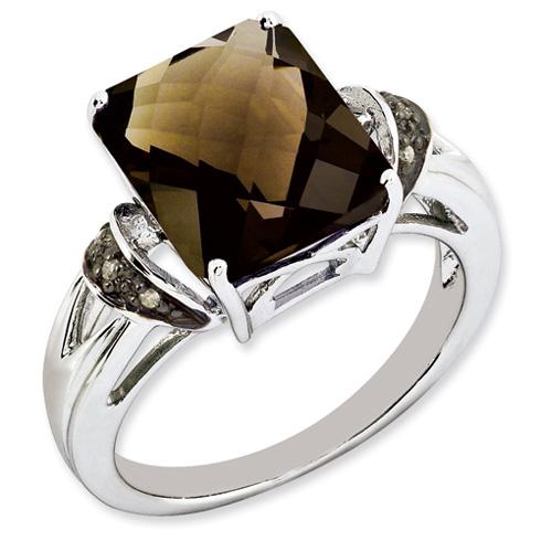 5.45 ct Sterling Silver Smokey Quartz and Diamond Ring