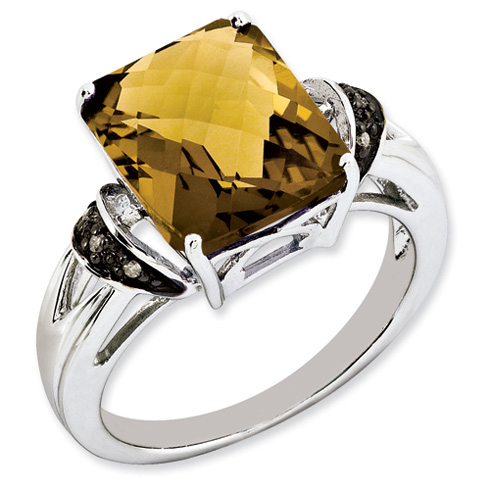 5.45 ct Sterling Silver Whiskey Quartz and Diamond Ring
