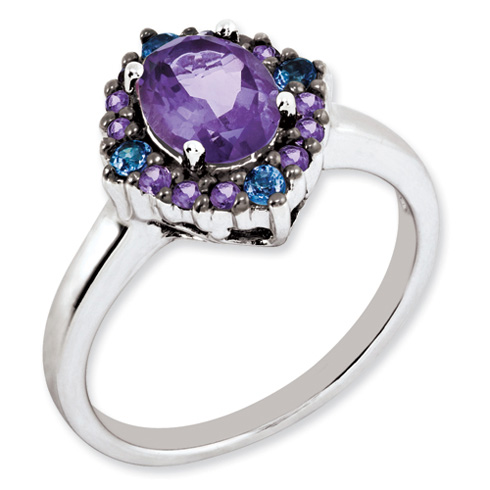 1.25 ct Sterling Silver Amethyst and Tanzanite Ring