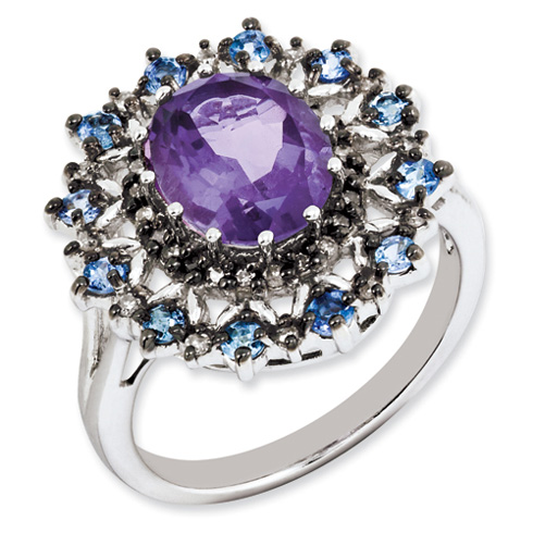 Sterling Silver 2.5 ct Amethyst Ring with Tanzanite and Diamonds