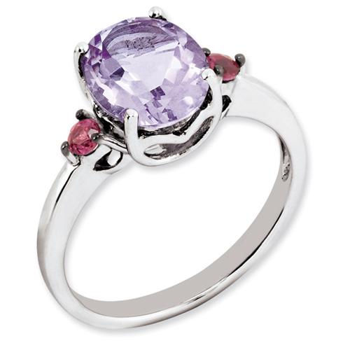 2.15 ct Sterling Silver Pink Amethyst and Rhodolite Garnet Ring