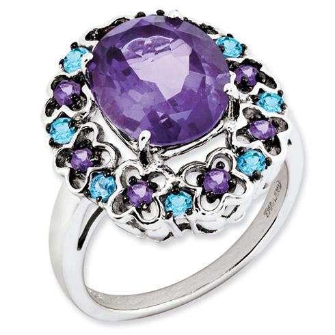 4.2 ct Sterling Silver Amethyst Rhodolite Garnet and Swiss Blue Topaz Ring