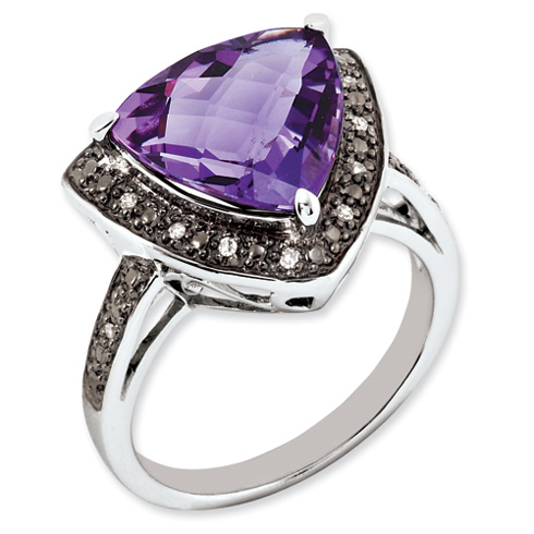 5.1 ct Sterling Silver Amethyst and Diamond Ring