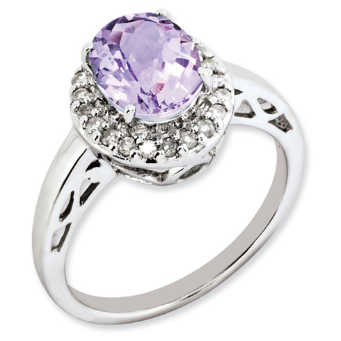 1.72 ct Sterling Silver Pink Quartz and Diamond Ring