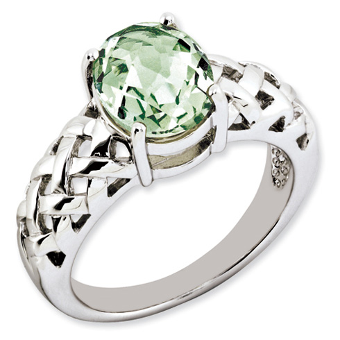 2.4 ct Sterling Silver Green Quartz Ring