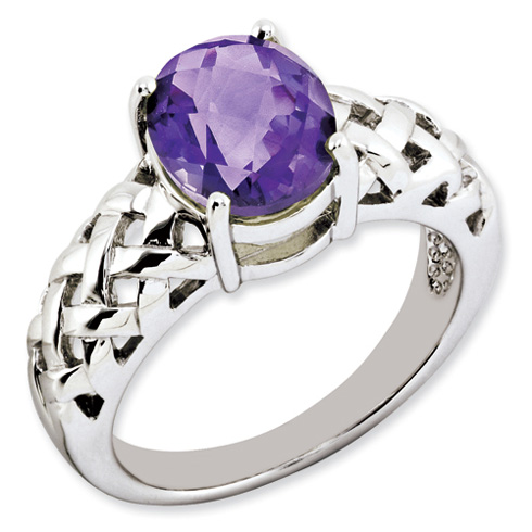 2.4 ct Sterling Silver Amethyst Ring