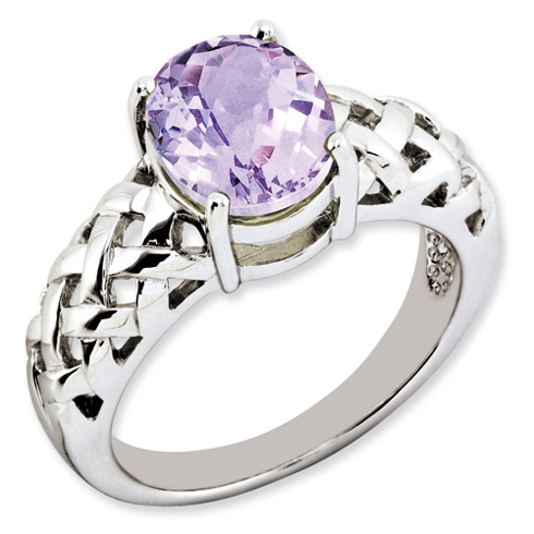 2.4 ct Sterling Silver Pink Quartz Ring