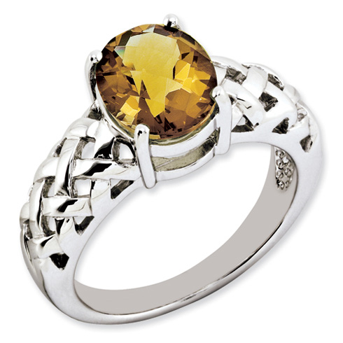 2.4 ct Sterling Silver Whiskey Quartz Ring